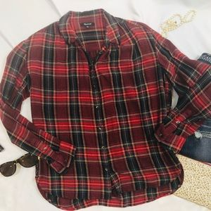 Madewell plaid button front shirt wool blend M A19